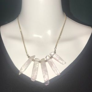 Pink Crystal Hanging Gold Necklace